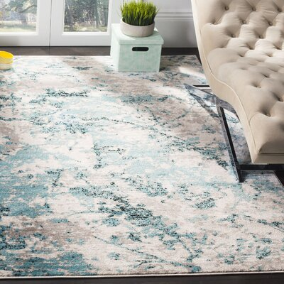Cohan Blue/Ivory Area Rug Rug Size: Rectangle 51 X 76