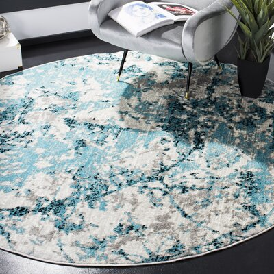 Cohan Blue/Ivory Area Rug Rug Size: Round 67