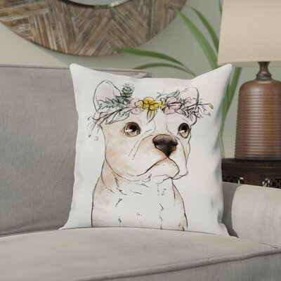 Borchers Floral Crowned Terrier Throw Pillow