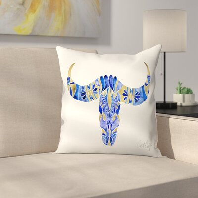 Water Buffalo Skull Throw Pillow Color: Navy/Gold, Size: 18 x 18