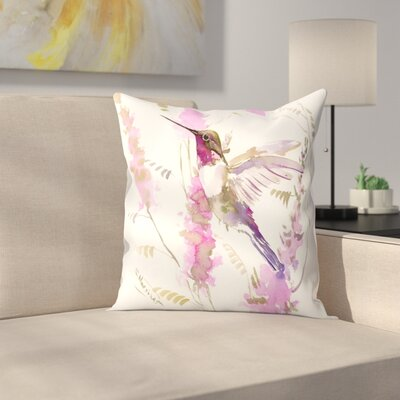 Suren Nersisyan Hummkingbird and Flowers Throw Pillow Size: 16 x 16