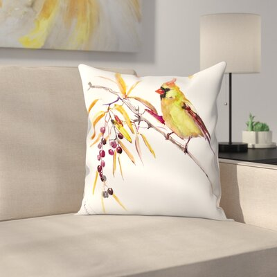 Yellow Bird Throw Pillow Size: 16 x 16