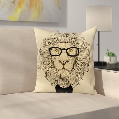Dandy Cool Lion Character Square Cushion Pillow Cover Size: 18 x 18