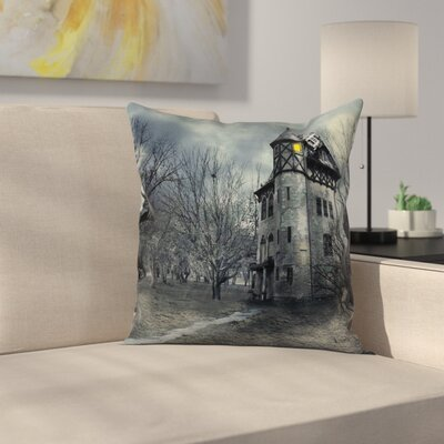 Halloween Decor Haunted House Square Pillow Cover Size: 18 x 18
