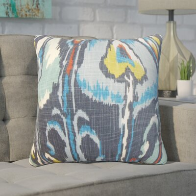 Wingfield Ikat Cotton Throw Pillow Color: Blue