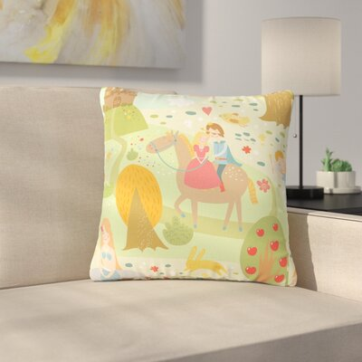 Petit Griffin Fairy Tale Fantasy Illustration Outdoor Throw Pillow Size: 16 H x 16 W x 5 D