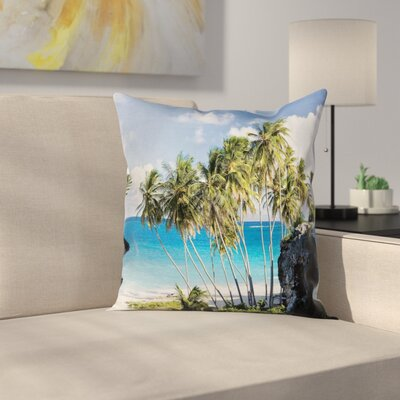 Tropical Ocean Exotic Beach Square Pillow Cover Size: 18 x 18
