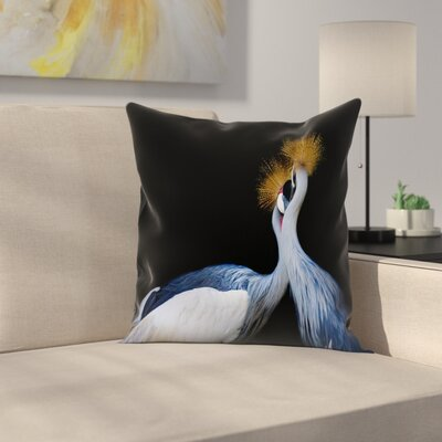 Maja Hrnjak Crowned Cranes Throw Pillow Size: 18 x 18