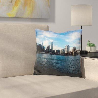 New York Skyline Throw Pillow Color: Blue