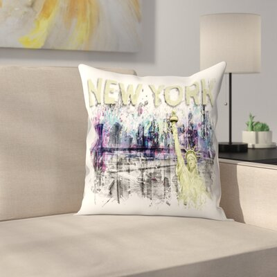 Modern Art New York City Skyline Splashes  Pink Throw Pillow Size: 18 x 18, Color: Yellow