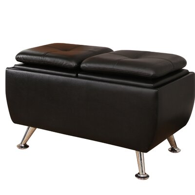 Rolston Leather Flip-Top Storage Ottoman