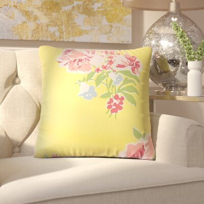 Bottorff Floral Cotton Throw Pillow Color: Yellow