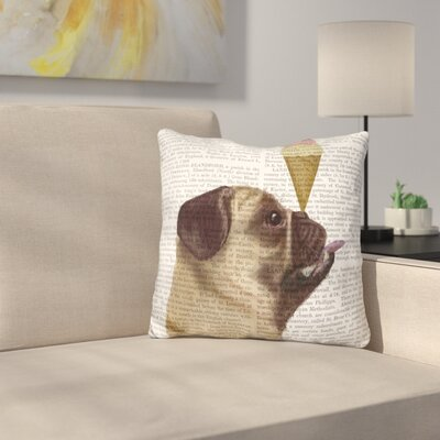 Pug Fawn and Ice Cream Throw Pillow