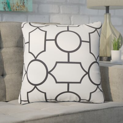 Syrianus Geometric Cotton Throw Pillow Color: Gray/Black