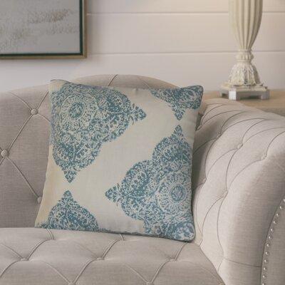 Barta Damask Cotton Throw Pillow Color: Aqua