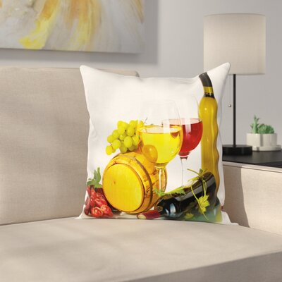 Wine Mini Barrel Square Pillow Cover Size: 18