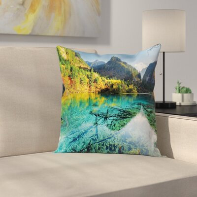 Idyllic Mountain Creek Square Pillow Cover Size: 16 x 16