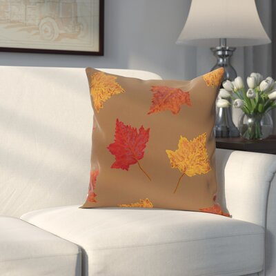 Dancing Leaves Flower Print Throw Pillow Size: 16 H x 16 W, Color: Brown