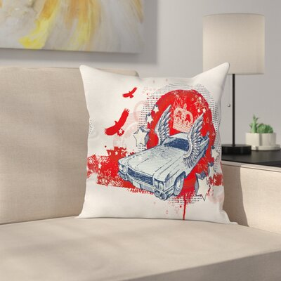 Car Graphic Pillow Cover Size: 18 x 18