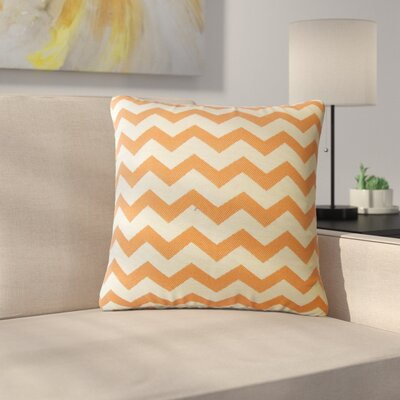 Shevlin Chevron Down Filled Throw Pillow Size: 18 x 18, Color: Mandarin