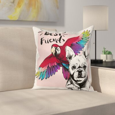 Modern Bulldog Parrot Friends Square Pillow Cover Size: 18 x 18