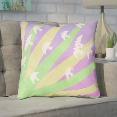 Enciso Birds and Sun Faux Leather Throw Pillow Color: Green/Yellow/Purple, Size: 18 H x 18 W