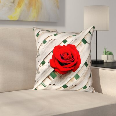 Hansard Fence Rose Throw Pillow Size: 18 x 18