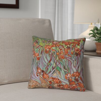 Morley Irises Square 100% Cotton Pillow Cover Color: Orange, Size: 16 x 16