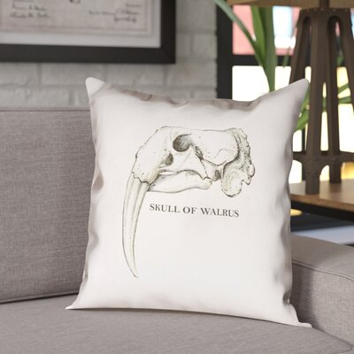 France Walrus Skull Double Sided Print Throw Pillow