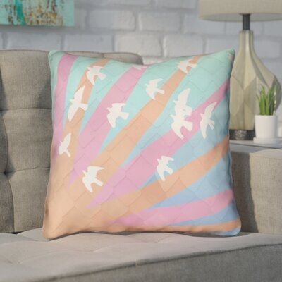 Enciso Birds and Sun Throw Pillow Color: Orange/Pink/Blue Ombre, Size: 14 H x 14 W