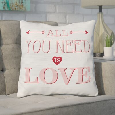 Rocket All You Need Is Love Wood Throw Pillow Size: 16 H x 16 W x 3 D