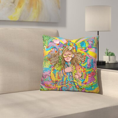 Hippie Chick Throw Pillow Color: Yellow/Green