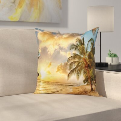 Tropical Exotic Sandy Beach Square Pillow Cover Size: 18 x 18