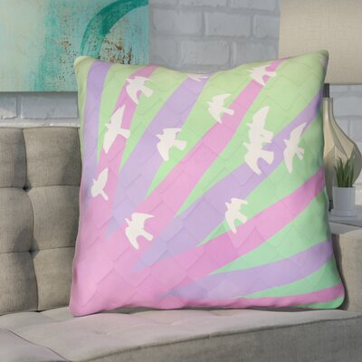 Enciso Birds and Sun Faux Leather Euro Pillow Color: Purple/Green