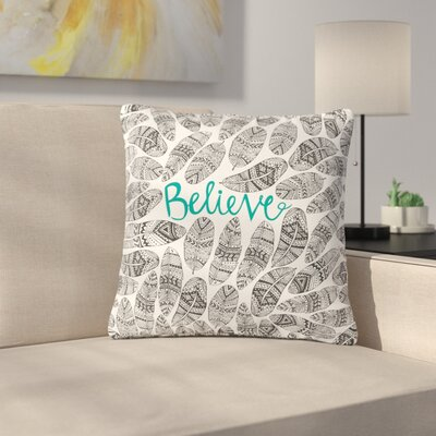 Pom Graphic Design Believe Size: 16 H x 16 W x 5 D, Color: Gray Teal