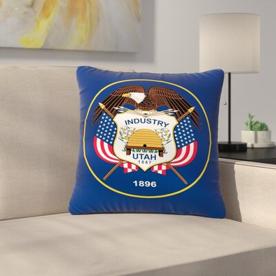 Bruce Stanfield Utah State Flag Authentic Outdoor Throw Pillow Size: 18 H x 18 W x 5 D