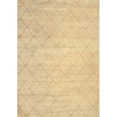 Modern Moroccan Hand-Knotted Wool Ivory Area Rug