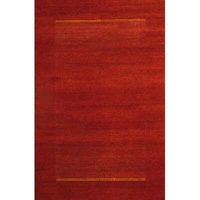Modern Gabbeh Hand-Knotted Wool Red Area Rug