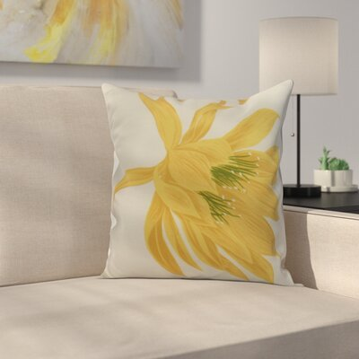 Meekins Floral Print Indoor/Outdoor Throw Pillow Color: Yellow, Size: 18 x 18