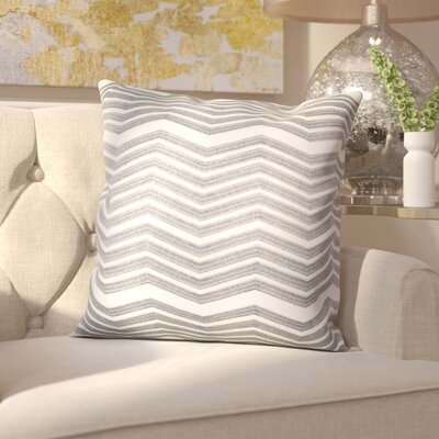 Glaucodot Thick Chevron Throw Pillow Color: Silver