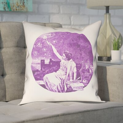 Enciso Blue Vintage Goddess Throwr Pillow Size: 16 x 16, Color: Purple