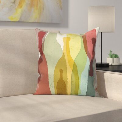 Wine Abstract Bottles Square Pillow Cover Size: 16 x 16