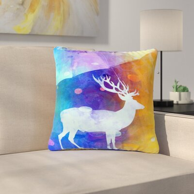 AlyZen Moonshadow Rain Deer Outdoor Throw Pillow Size: 18 H x 18 W x 5 D