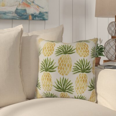 Costigan Pineapple Stripes Outdoor Throw Pillow Size: 18 H x 18 W x 3 D, Color: Green
