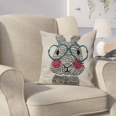 Nona WhatS Up Bunny? Throw Pillow Size: 26 H x 26 W, Color: Teal