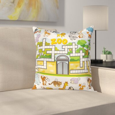Puzzle Zoo Theme Square Cushion Pillow Cover Size: 16 x 16