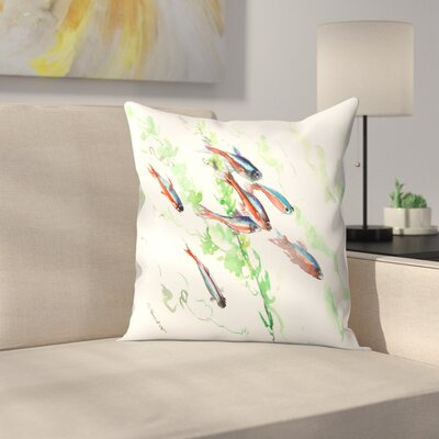 Neon Tetra Fish Aquarium Throw Pillow Size: 16 x 16