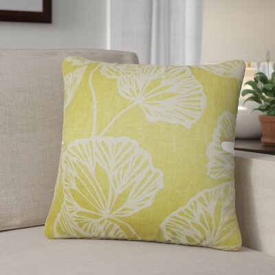 Conti Floral Cotton Throw Pillow Color: Yellow