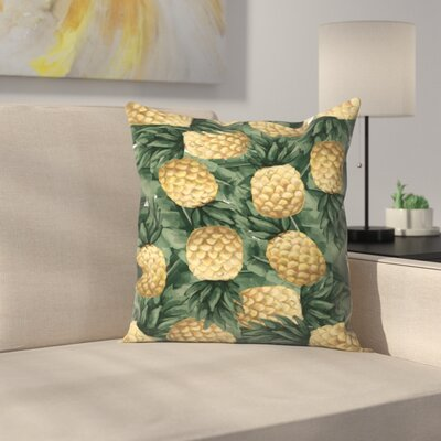Jetty Printables Pineapple and Tropical Botanicals Throw Pillow Size: 20 x 20
