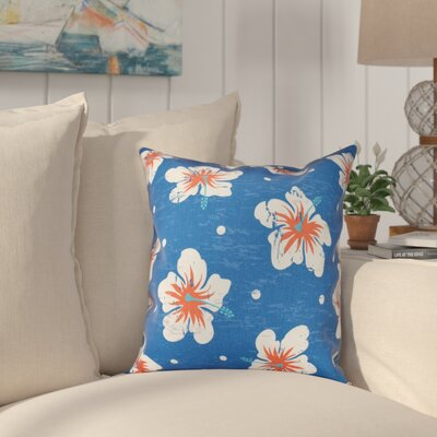 Golden Beach Hibiscus Blooms Floral Outdoor Throw Pillow Size: 18 H x 18 W, Color: Blue